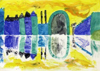 Kunst 5+6 Bild 2 - Haeuser am Fluss: Warme und kalte Farben verwenden, mit Abklatschtechnik spiegeln