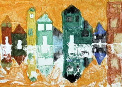 Kunst 5+6 Bild 1 - Haeuser am Fluss: Warme und kalte Farben verwenden, mit Abklatschtechnik spiegeln