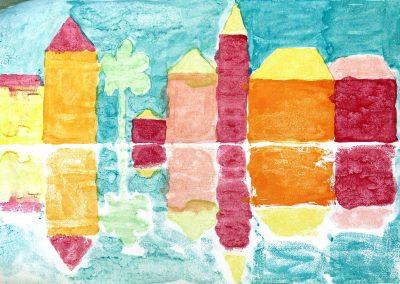 Kunst 5+6 Bild 6 - Haeuser am Fluss: Warme und kalte Farben verwenden, mit Abklatschtechnik spiegeln