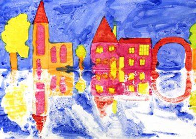 Kunst 5+6 Bild 5 - Haeuser am Fluss: Warme und kalte Farben verwenden, mit Abklatschtechnik spiegeln