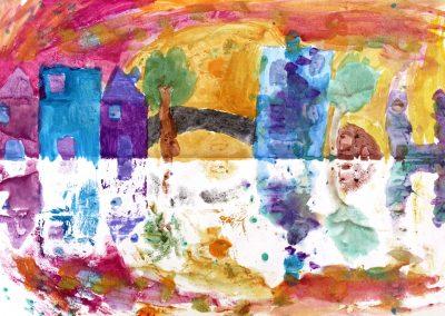 Kunst 5+6 Bild 4 - Haeuser am Fluss: Warme und kalte Farben verwenden, mit Abklatschtechnik spiegeln