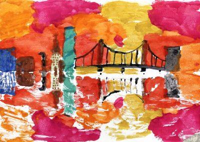 Kunst 5+6 Bild 3 - Haeuser am Fluss: Warme und kalte Farben verwenden, mit Abklatschtechnik spiegeln