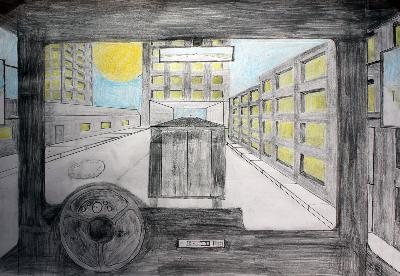 """Kunst 7+8 Bild 2 """"Bild des Raumes, Straße aus dem Fenster eines Autos in Zetralperspaktive"""""""