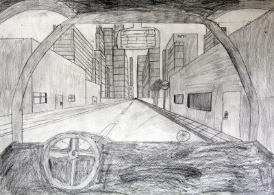 """Kunst 7+8 Bild 1 """"Bild des Raumes, Straße aus dem Fenster eines Autos in Zetralperspaktive"""""""